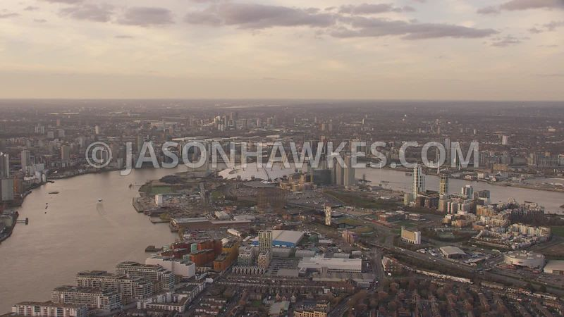 Aerial footage of Greenwich Peninsula