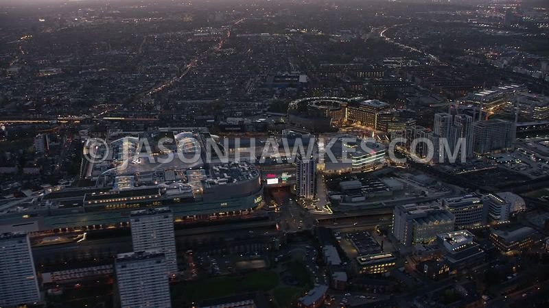 Aerial footage at dusk of London. ,Television Centre, Westfield - White City,  White City Living, Wood Lane