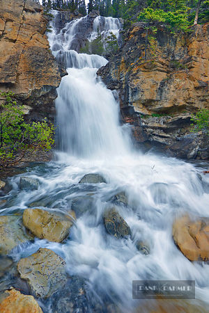 Waterfall Tangle Falls - North America, Canada, Alberta, Jasper National Park, Tangle Falls (Rocky Mountains) - digital