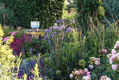 Glass bowl catches the light on a water feature surrounded by salvias, penstemons and roses at Malthouse Farm, Hassocks, Sussex