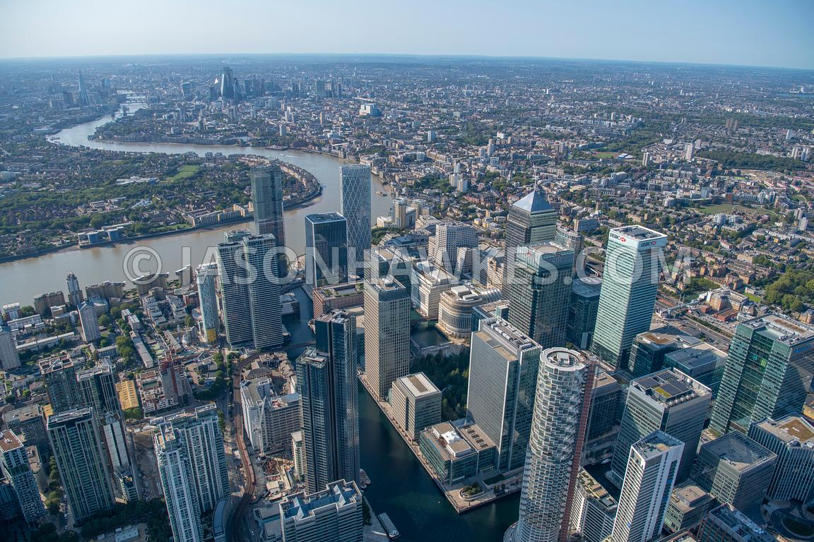 Aerial view of Canary Wharf, 10 Upper Bank Street, canary wharf, Cubitt Town*, docklands*, Heron Quays DLR Station, london, M...