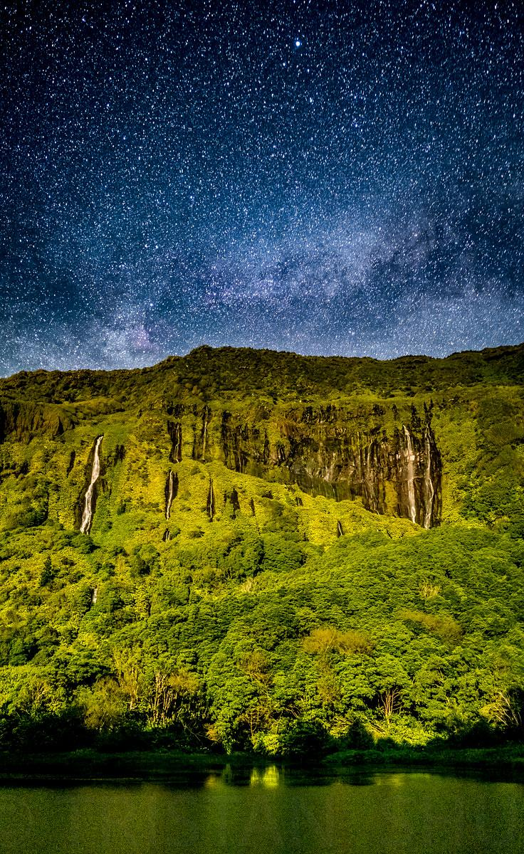 Milky way above Flores Waterfall