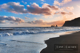 Lava beach and Reynisdrangar islands - Europe, Iceland, Southern Region, Vik - digital