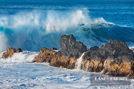 Ocean coast with lava rocks and waves - Africa, France, Reunion, Saint Philippe, Le Baril (Mascarene Islands) - digital
