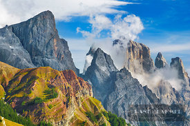 Mountain impression Pale di San Martino - Europe, Italy, Trentino-Alto Adige, Trentino, Pale di San Martino, Rolle Pass (Alps...