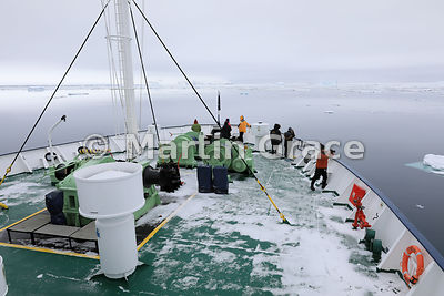 Snow on the deck of polar cruise ship Ortelius at Latitude S63°32', Longitude W56°18', Weddell Sea, Antarctic Peninsula,  Ant...