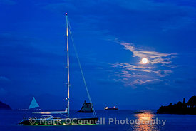 sailing yacht,underwater lights,moon,photos,images