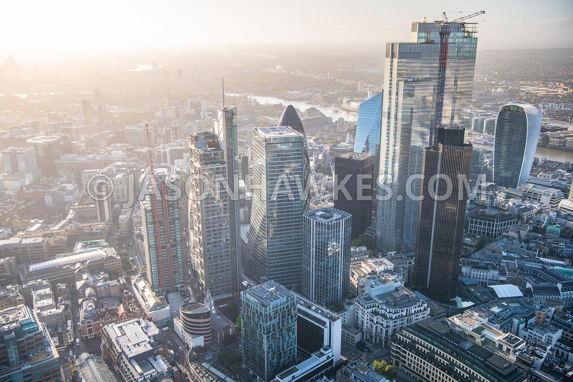 Aerial virw of the City of London, 22 Bishopsgate, 100 Bishopsgate, City of London, Heron Tower, London., Salesforce Tower, t...