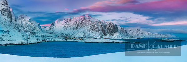 Coast mountain Lofoten in new snow - Europe, Norway, Nordland, Lofoten, Moskenesoya, Reine (Lapland) - digital