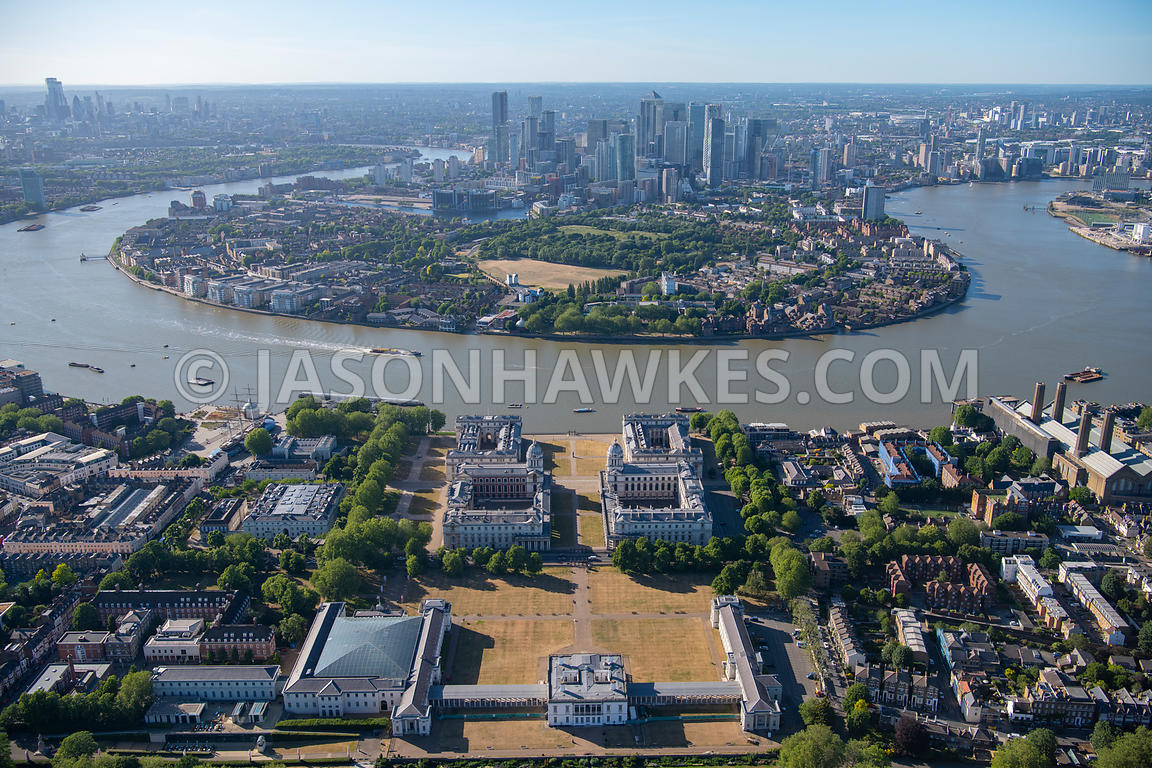 Aerial view of National Maritime Museum, Greenwich, Old Royal Naval College, London.