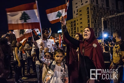 Protestoers in beirut, lebanon continue to take to the streets for the 24th consecutive day to peacefully demonstrate their d...