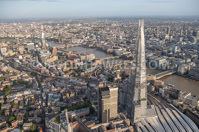 The Shard, aerial view, London.