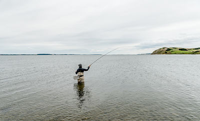 Danish woman fishing