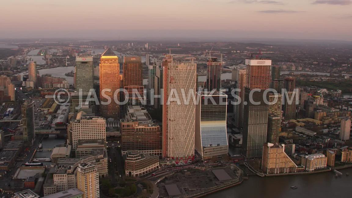 Aerial footage of Canary Wharf, Landmark Pinnacle and Newfoundland Quay Isle of Dogs, London.