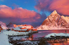 Coast mountain Klokketinden in new snow - Europe, Norway, Nordland, Lofoten, Moskenesoya, Sakrisoy (Lapland) - digital