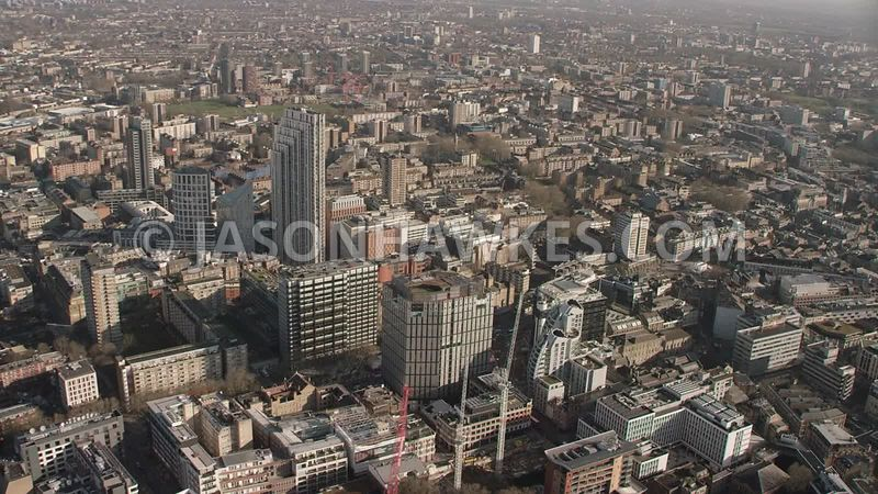 Old Street Station,  Old Street , EC1, East London, City Road, Hoxton, London. Aerial footage.