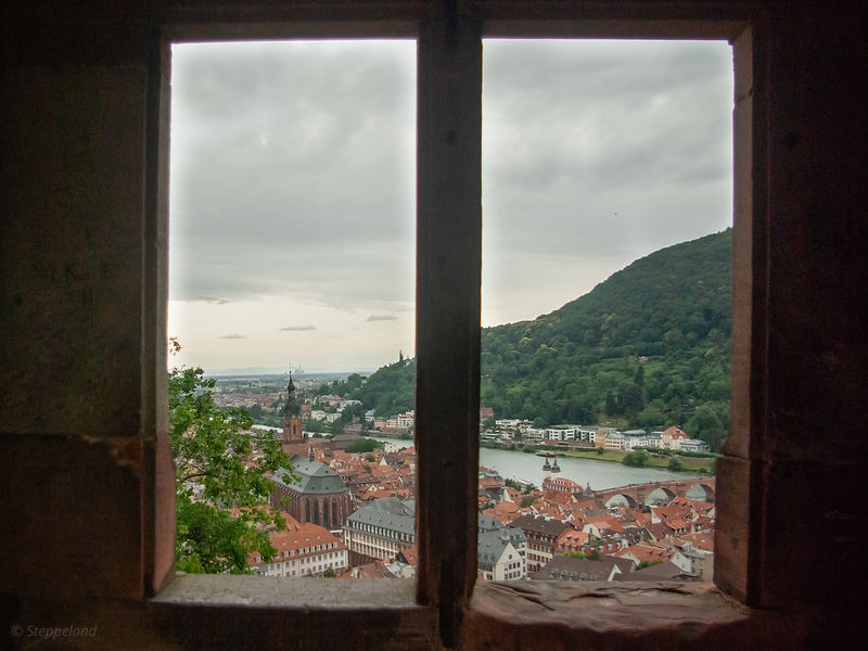 View on Heidelberg through Castle window