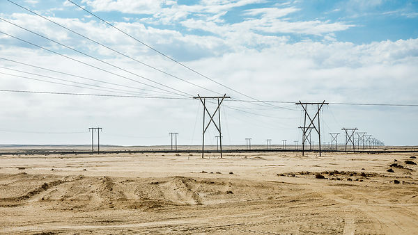 Electricity pylons in desert near Swakopmund, Namibia, South Africa