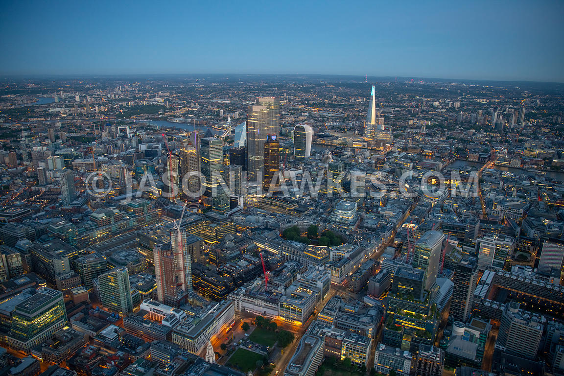 Dusk aerial view of Finsbury Circus, Broadgate and City of London, London.