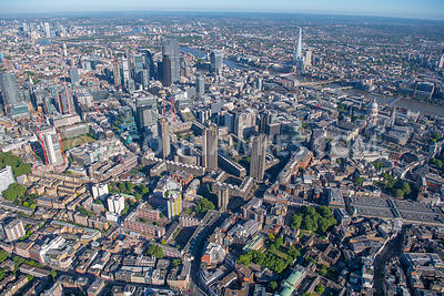 Aerial view of the Barbican and Smithfield, St Pauls and City of London, London.