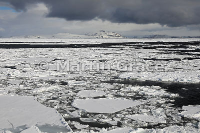 Weddell Sea landscape of ice, land, sea and cloudy sky, from Latitude: S63°46.532', Longitude: W57°10.663'; Antarctic Peninsu...