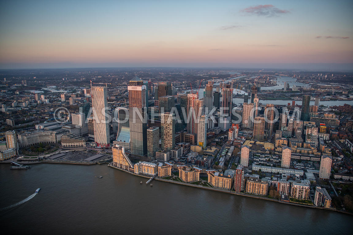 Aerial view of Canary Wharf, London. Admirals Way, Aerial View, Alpha Grove, Bank Street, Bellamy Close, Bosun Close, Broadwa...