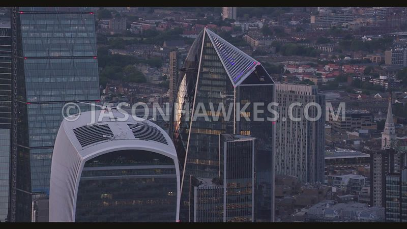 Aerial footage of the Shard and City of London