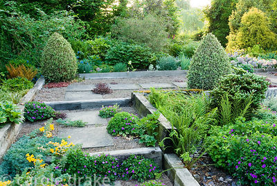 Shallow steps and raised beds constructed using weathered railway sleepers, with plants seeded into the gravel path including...