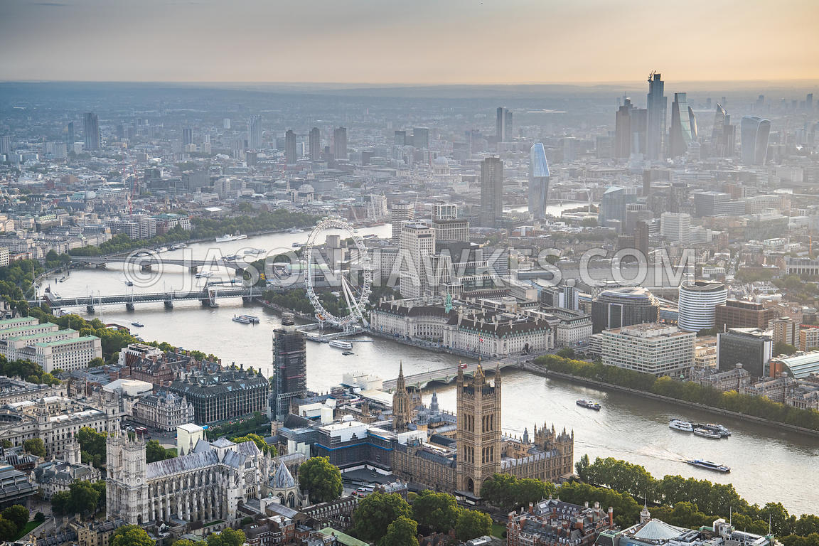 Palace of Westminster, Houses of Parliament, Westminster, River Thames, Southbank, London aerial view, London.