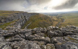 Views from the top of Malham Cove in the Yorkshire Dales, Englan