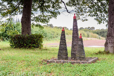 Slate pyramids on the lime avenue at Broadwoodside, Gifford, East Lothian in September