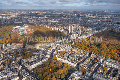 Aerial view of Belgravia and Hyde park Corner, London.