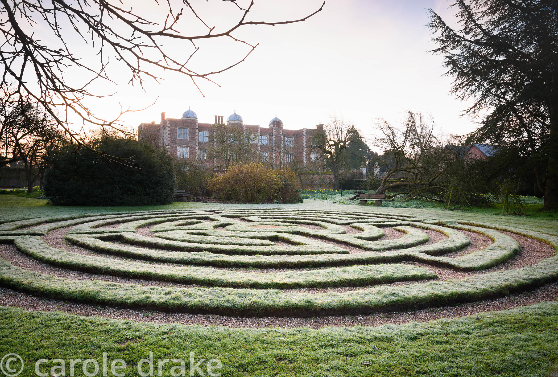 Turf maze created in the 1980s at Doddington Hall, Lincolnshire on a frosty March morning