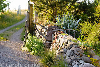 A drystone wall around the front garden plays host to alpine and succulent plants at 2 Durnamuck, Little Loch Broom, Wester R...