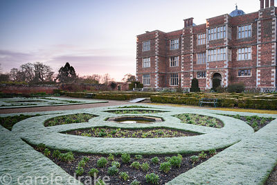 The West Garden on a frosty March morning at Doddington Hall, Lincolnshire