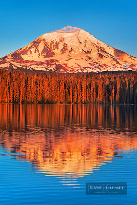 Mountain impression reflection of Mount Adams in Takhlakh Lake - North America, USA, Washington, Skamania, Mount Adams, Takhl...