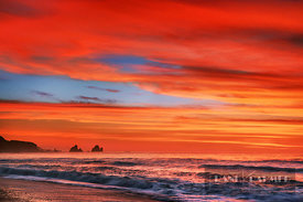 Sunset impression near Motukiekie Beach - Oceania, New Zealand, South Island, West Coast, Grey, Greymouth, Twelve Mile Bluff,...