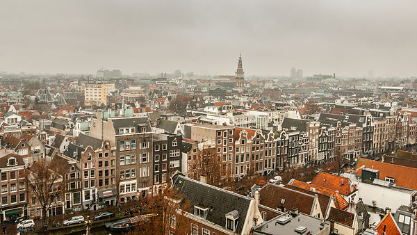 View over the Oudezijds Voorburgwal and Southern Tower Amsterdam