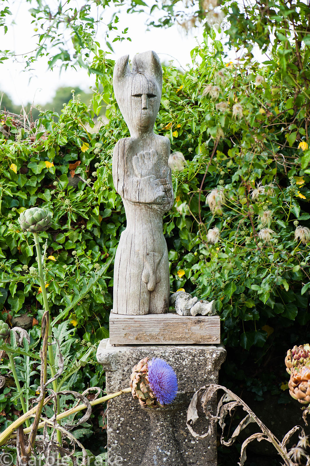 Carving of Cernunnos, the Celtic God of the Other World in yew wood by John Cleal in the kitchen garden. Dyffryn Fernant, Fis...