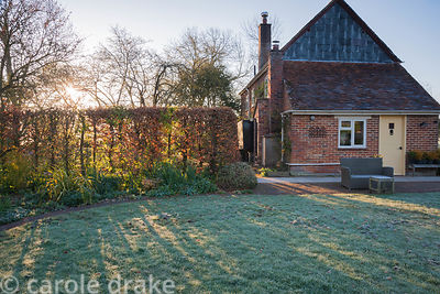 Morning sun stripes the circular frosted lawn on an April morning, streaming between a beech hedge and the house. Terstan, St...