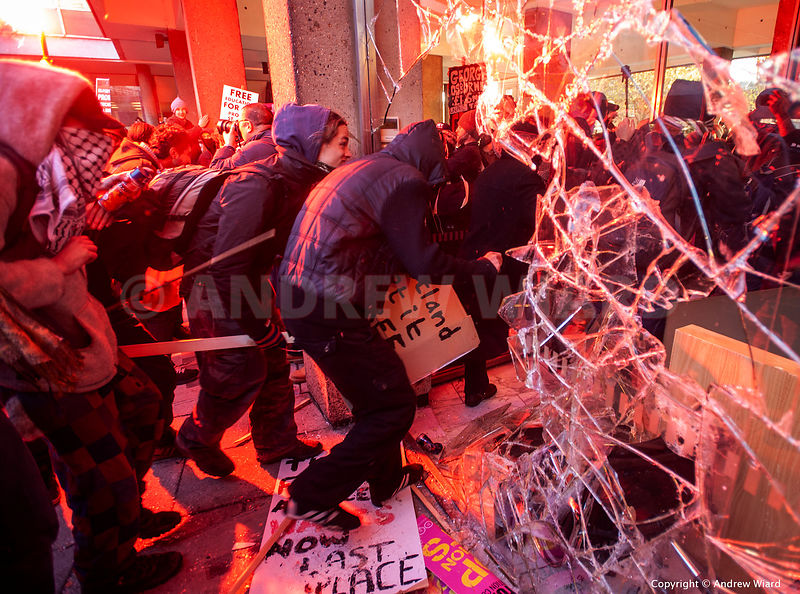 England, UK . 10.11. 2010. London . 30 Millbank. Students break into Tory HQ during protest against plans to increase tuition...