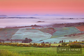 Tuscany landscape with Val d'Orcia in fog - Europe, Italy, Tuscany, Siena, Val d'Orcia, Pienza, south of - digital
