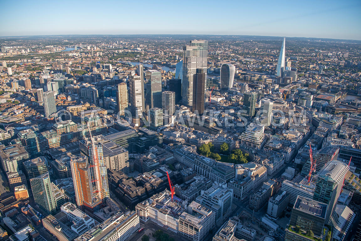 Aerial view of City of London.  UK.