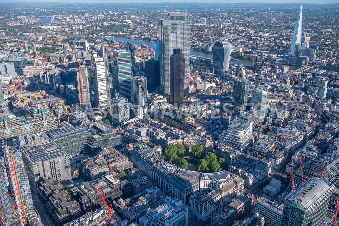 Aerial view of Finsbury Circus, Broadgate and City of London, London.