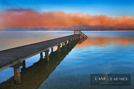 Boat ramp and fog bench - Europe, Germany, Bavaria, Upper Bavaria, Bad Tölz-Wolfratshausen, Münsing, Ambach (Fünfseenland, La...