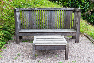 Arts and Crafts inspired bench and table on the south facing terrace designed by Gillian Archer. Perrycroft, Upper Colwall, H...