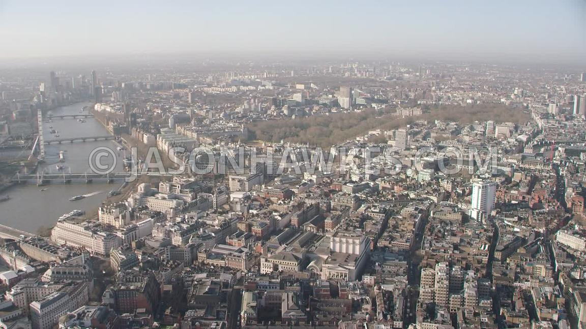Aerial footage of Covert Garden, the Strand , Charring Cross, Trafalgar Square, Westminster, London.