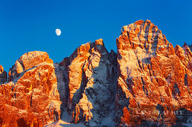 Mountain impression Pale di San Martino and moon - Europe, Italy, Trentino-Alto Adige, Trentino, Pale di San Martino, Val Ven...