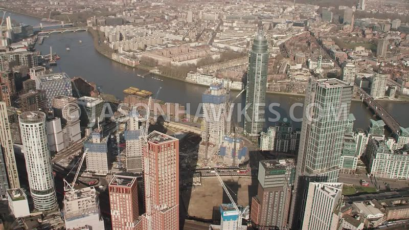 Helicopter aerial footage of London . Aerial footage of Vauxhall, Nine Elms and Battersea, London.