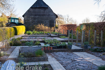 Vegetable patch and stock beds. Terstan, Stockbridge, Hants, UK